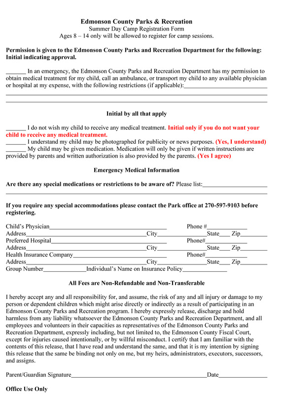 parks and rec summer day camp registration forms